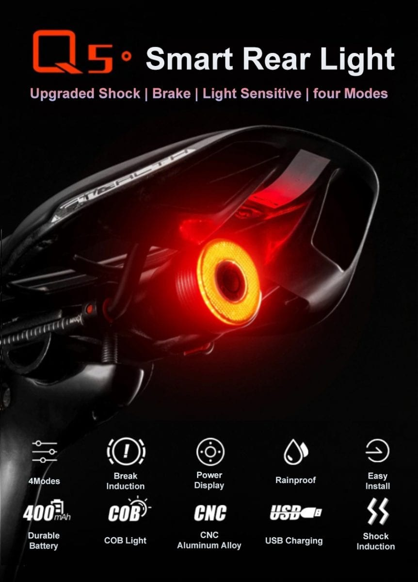ROCKBROS Smart Bicycle Rear Brake Taillight Q5