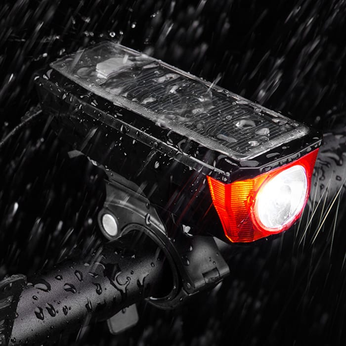 Rockbros Solar Panel Bicycle Front Light With Horn HJ-052 Red