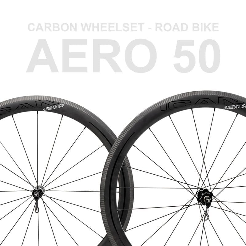 ICAN AERO 50 Carbon Wheelset | Road Bike | 2 Years Free Warranty